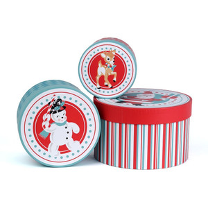 Retro Christmas Storage Boxes Set of 3
