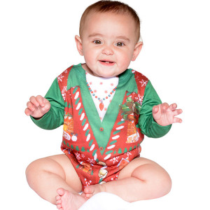 Faux Real - Infant Girl's Ugly Christmas Sweater Onesie
