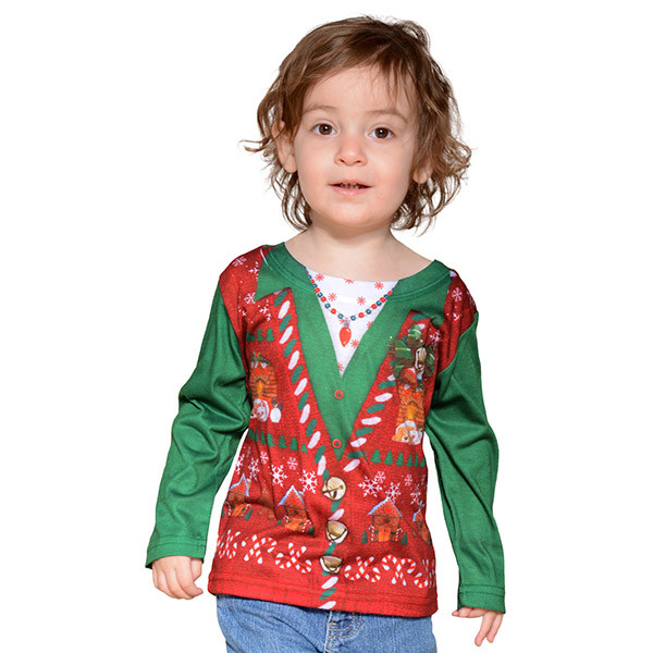 Faux Real - Toddler Girl Ugly Christmas Sweater Tee | RetroFestive.ca