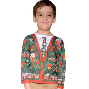 Faux Real - Toddler Boys Ugly Christmas Sweater Cardigan Tee