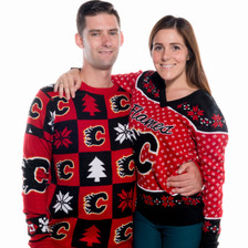 Calgary Flames Ugly Christmas Sweater NHL 2016 Couple