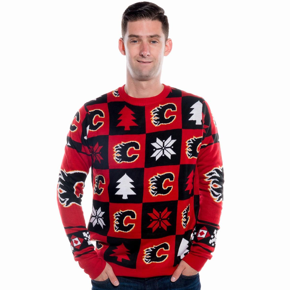 Calgary Flames Ugly Christmas Sweater NHL 2017   RetroFestive.ca