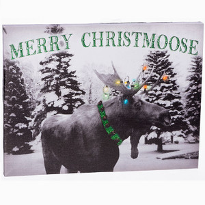 Merry Christmoose Lighted Canvas