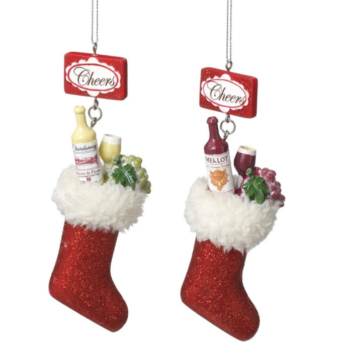 Wine stocking christmas tree ornaments red or white for White tree red ornaments