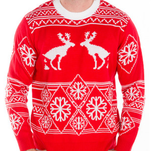 Pooping moose ugly sweater crop