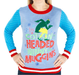 Women's Elf the Movie Cotton Headed Ninny Muggins Sweater (Front View)