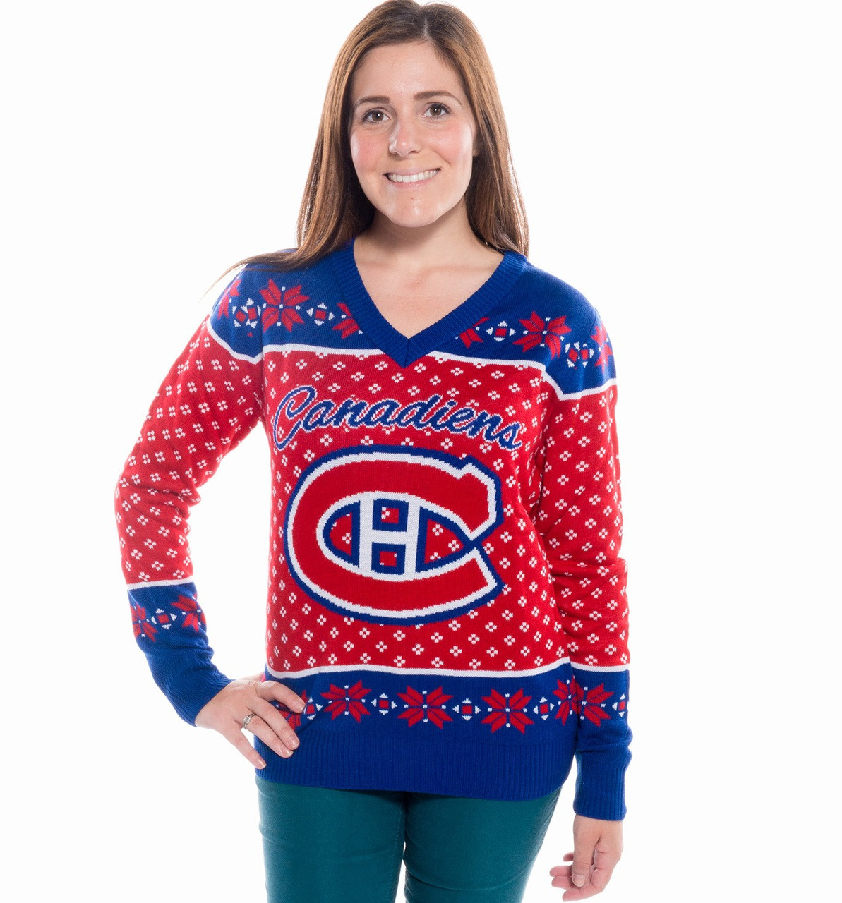 Women's V-Neck Montreal Canadiens Ugly Christmas Sweater NHL 2017