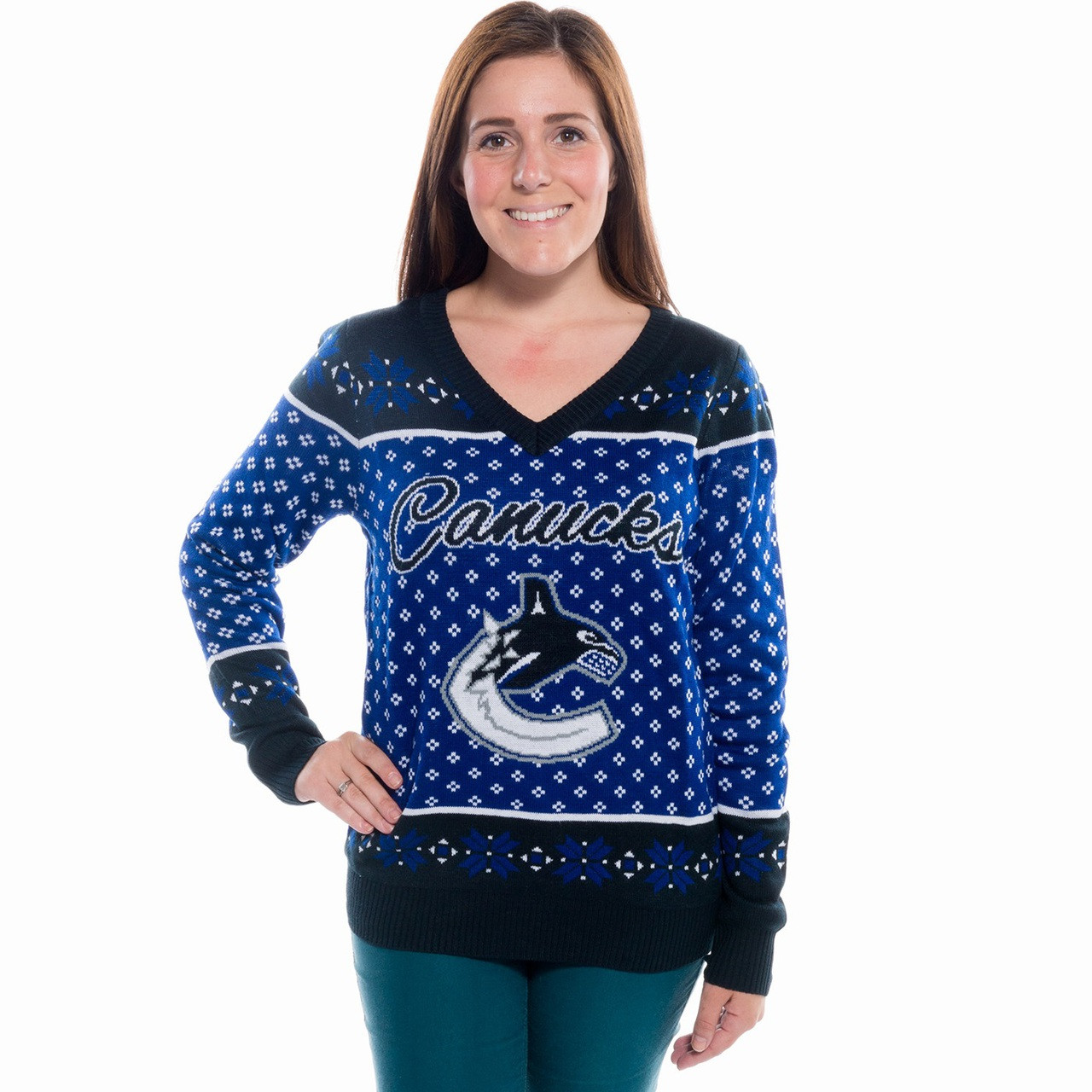 Ladies Vancouver Canucks Ugly Christmas Sweater NHL (Back)