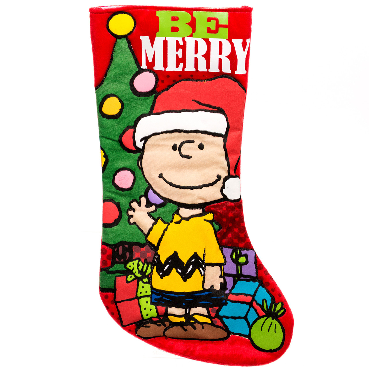 Charlie brown and snoopy peanuts christmas stockings retrofestive be merry charlie brown christmas stocking voltagebd Image collections