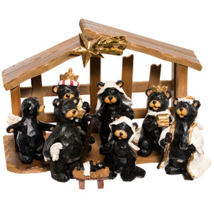 Black Bear Nativity Set with Creche