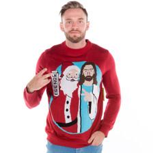 Men's Jingle Bros Santa Jesus Sweater 2