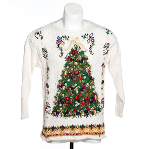 Festive Christmas Tree Vintage Ugly Sweater - Ivory