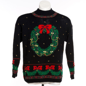 Silent Night Christmas Wreath Black Vintage Ugly Sweater