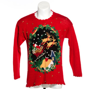 Here comes Santa Claus vintage ugly Christmas Sweater