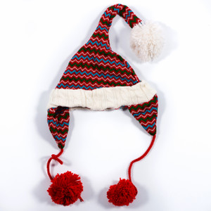 Knitted Pom-Pom Hat - Long