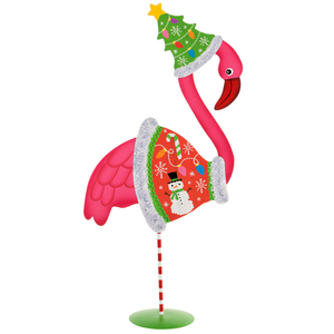 Pink Flamingo in Ugly Sweater Outfit