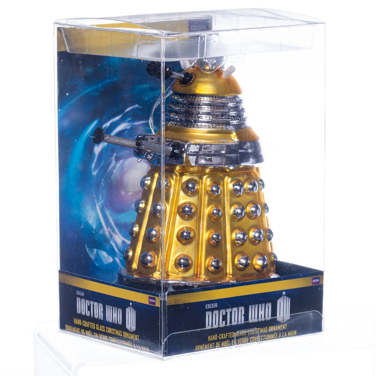 Doctor Who Yellow Dalek Glass Christmas Tree Decoration