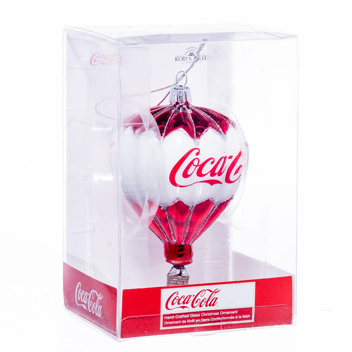 Glass Coca-Cola Hot Air Balloon Holiday Ornament