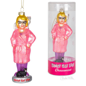 Crazy Cat Lady Glass Ornament