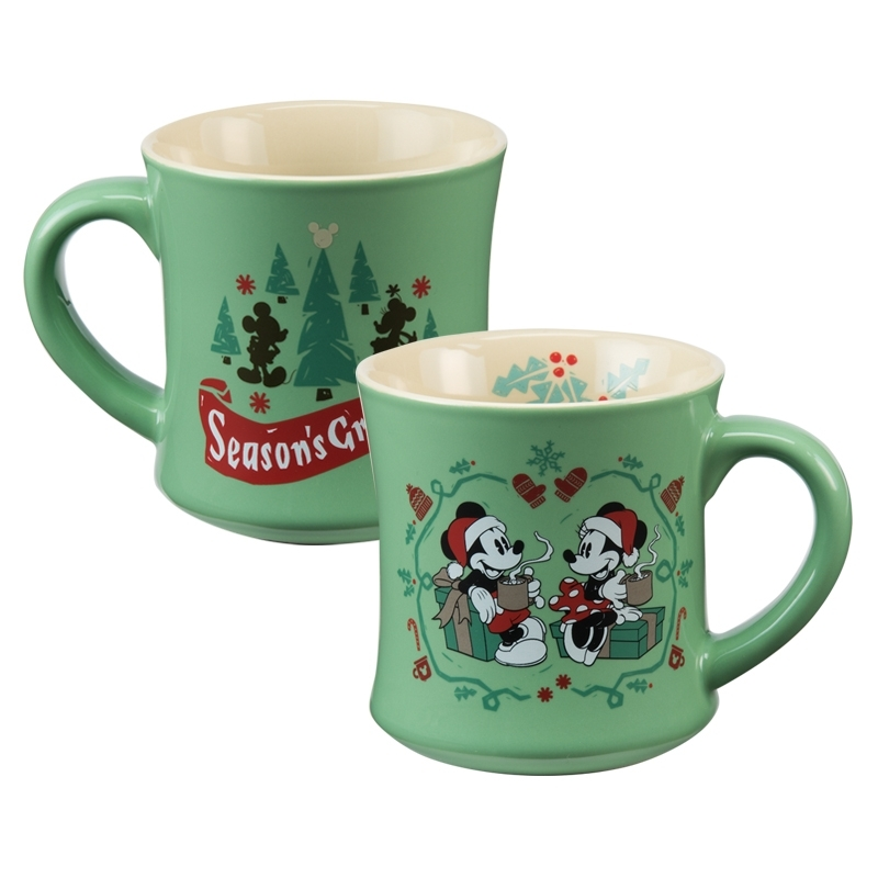 Disney Mickey & Minnie Mouse Holiday 12 oz. Fluted Ceramic Mug Front