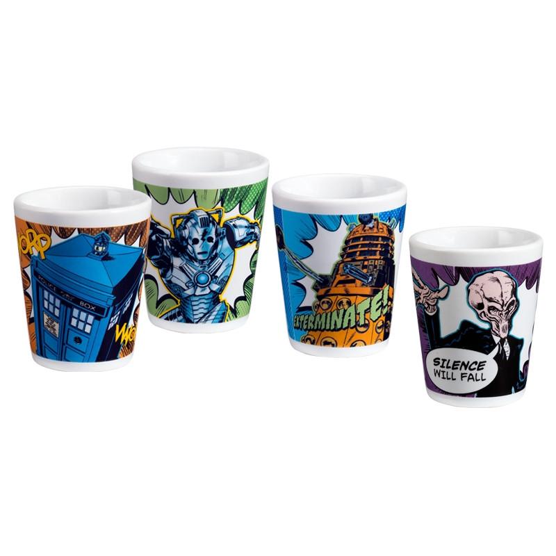 Doctor Who 4 pc Ceramic Shot Glass Set Tardis