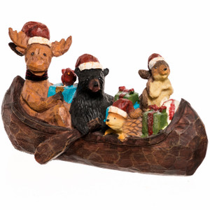 Moose, Bear and Beaver in a Canoe