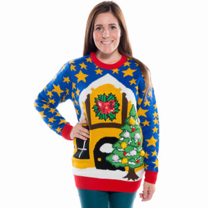 Starlight Xmas Christmas Sweater with applique pom poms and sequin bow