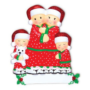 Pajama Family Personalized Ornament - Family of 4