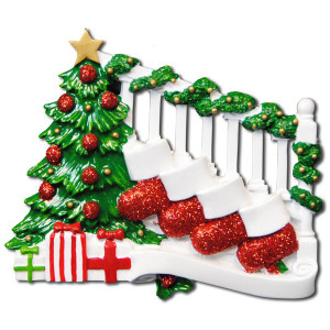 Bannister with Stockings Personalized Ornament - 4