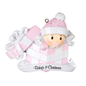 Baby Girl in Present Personalized Ornament