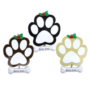 Dog Paw Personalized Christmas Ornaments