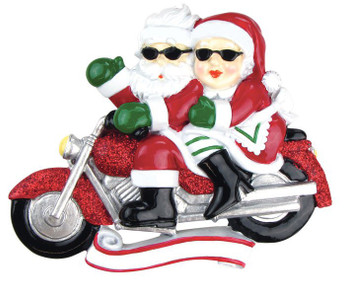 Motorcycle Mr & Mrs - Personalized Christmas Ornament