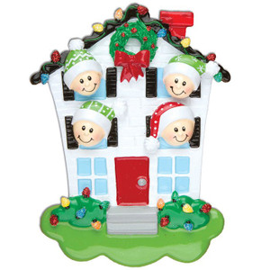 House Family of 4 Personalized Christmas Ornament