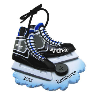 Hockey Skates Personalized Christmas Ornament