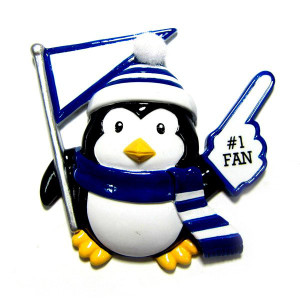 Blue/White Penguin Fan Personalized Ornament