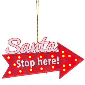 Santa Stop Here Blinking Sign Ornament