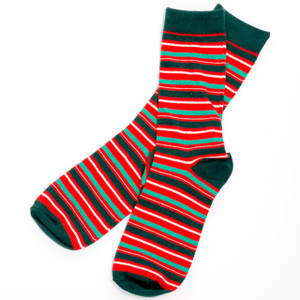 Merry Christmas Stripes Men's Crew Socks