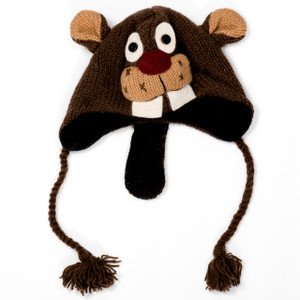 Hand-Knitted Beaver Hat w/ Tail for Adults