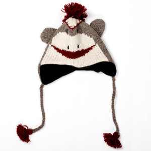 Hand-Knit Sock Monkey Hat for Adults