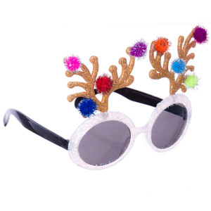 Glitter Reindeer Sunglasses with Pom-Poms