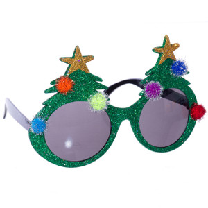 Glitter Christmas Tree Sunglasses with Pom-Poms