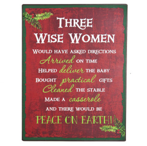 Three Wise Women Tin Christmas Sign
