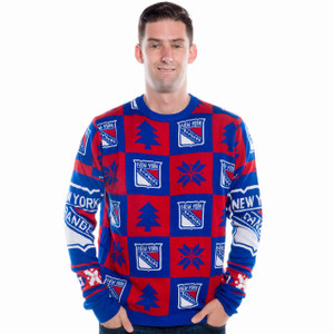 New York Rangers Ugly Christmas Sweater NHL 2016 Front