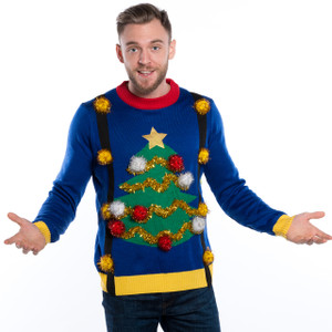 Pom Pom Christmas Tree with Suspenders Sweater