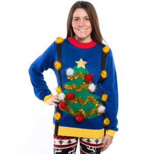 Pom Pom Christmas Tree with Suspenders Sweater on Her