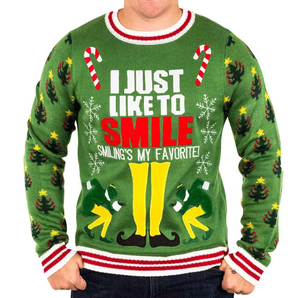 Elf the Movie I Just Like to Smile Ugly Christmas Sweater