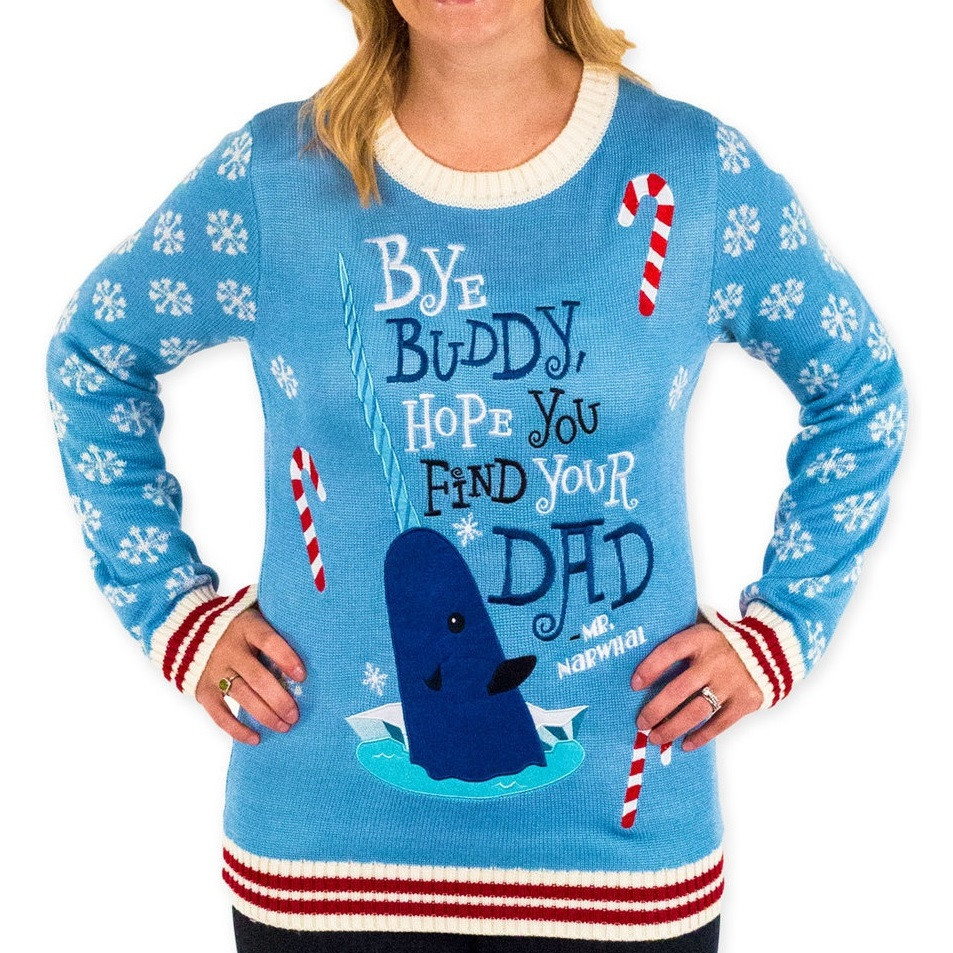 Women's Bye Buddy Narwhal Sweater - Elf: The Movie - RetroFestive.ca