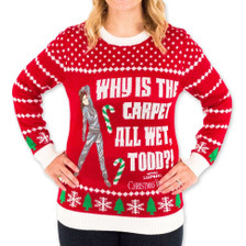 Women's Christmas Vacation Why is the Carpet All Wet Todd Sweater Close-Up