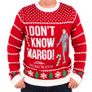 Men's Christmas Vacation I Don't Know Margo Sweater Close-Up