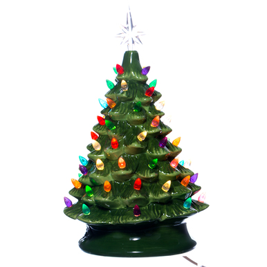 Green vintage light up ceramic christmas tree for Light up christmas decorations